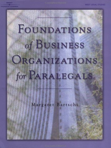 Foundations of Business Organizations for Paralegals   2001 edition cover