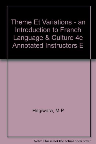 Theme et Variations An Introduction to French Language and Culture 4th 9780471608530 Front Cover