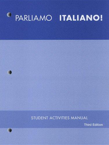 Parliamo Italiano! 3E Student Activity Manual  3rd 2007 edition cover