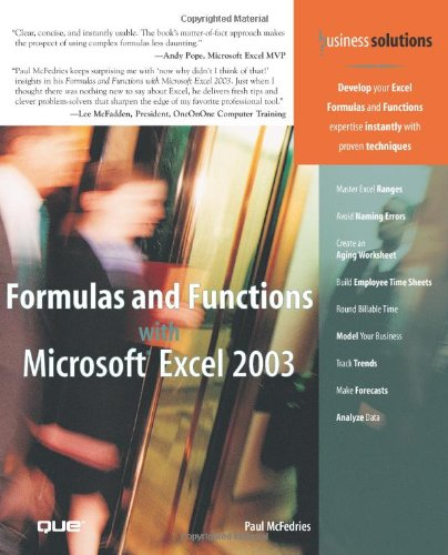 Formulas and Functions with Microsoft Excel 2003   2004 edition cover