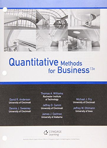Quantitative Methods for Business  13th 2016 9781305631533 Front Cover