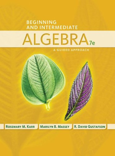 Beginning and Intermediate Algebra: A Guided Approach  2014 edition cover