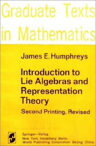Introduction to Lie Algebras and Representation Theory   1972 edition cover