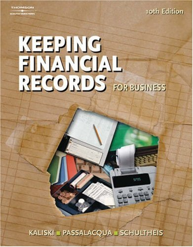 Keeping Financial Records for Business  10th 2006 (Revised) 9780538441537 Front Cover