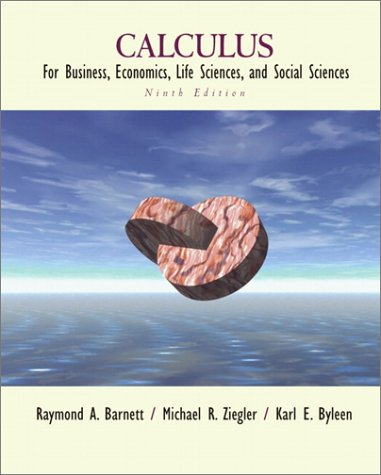 Calculus for Business, Economics, Life Sciences, and Social Sciences  9th 2002 edition cover