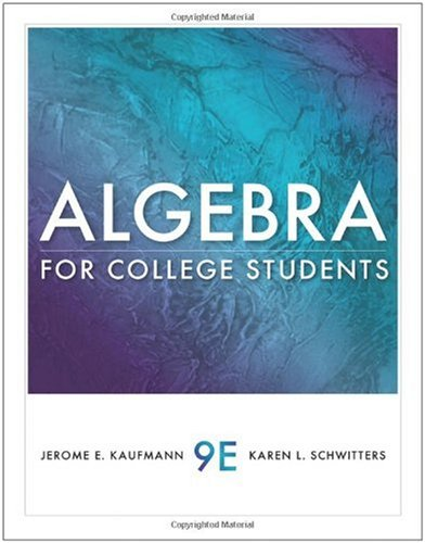 Algebra for College Students  9th 2011 9780538733540 Front Cover