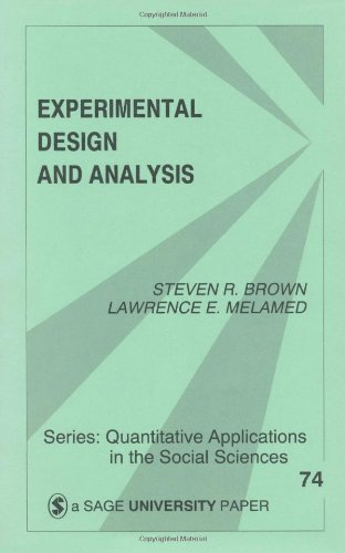 Experimental Design and Analysis   1990 edition cover