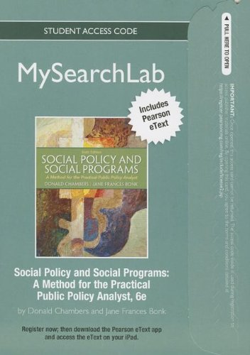 Social Policy and Social Programs A Method for the Practical Public Policy Analyst 6th 2013 edition cover