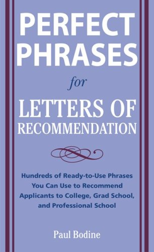 Perfect Phrases for Letters of Recommendation   2010 edition cover