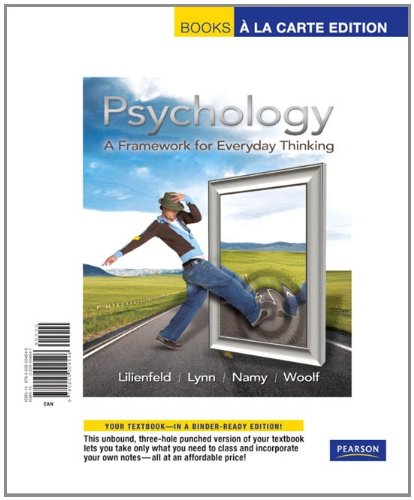 Psychology A Framework for Everyday Thinking, Books a la Carte Edition  2010 edition cover