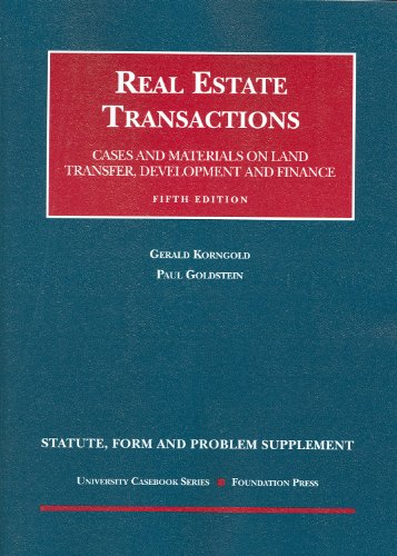 Real Estate Transactions Cases and Materials on Land Transfer, Development and Finance 5th 2009 (Revised) edition cover