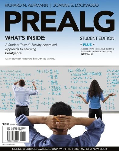 Prealgebra  5th 2011 9780538735551 Front Cover