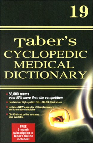 Taber's Cyclopedic Medical Dictionary Plain 19th 2001 (Revised) edition cover
