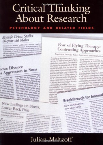 Critical Thinking about Research Psychology and Related Fields  1998 edition cover