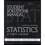 Student Solutions Manual for Statistics A First Course 8th 2004 edition cover