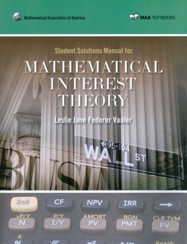 Student Solutions Manuarl for Mathematical Interest Theory N/A edition cover