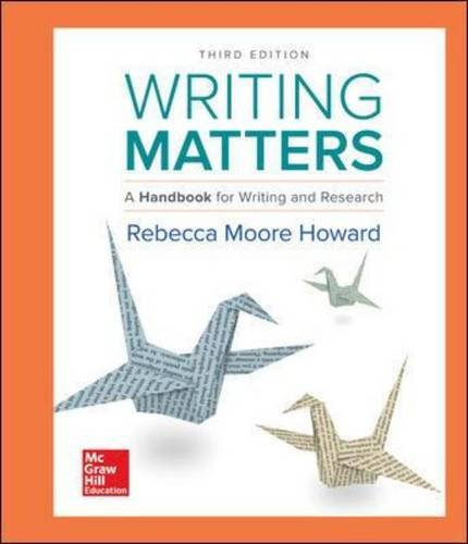 Writing Matters: A Handbook for Writing and Research - With Exercises  2017 9781259693557 Front Cover