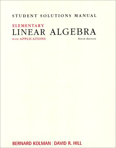Elementary Linear Algebra with Applications  9th 2008 edition cover