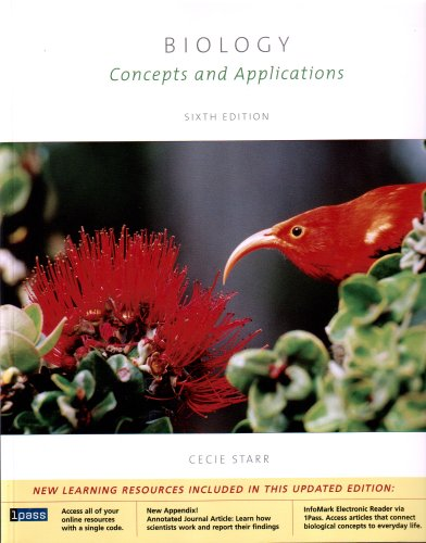 Biology Concepts and Applications (Enhanced Homework Edition with Printed Access Card ThomsonNOW?/ InfoTrac� 2-Semester) 6th 2006 9780495102564 Front Cover