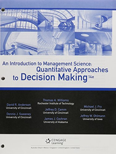 An Introduction to Management Science + Cengagenow, 1-term Access: Quantitative Approaches to Decision Making  2015 9781305699564 Front Cover