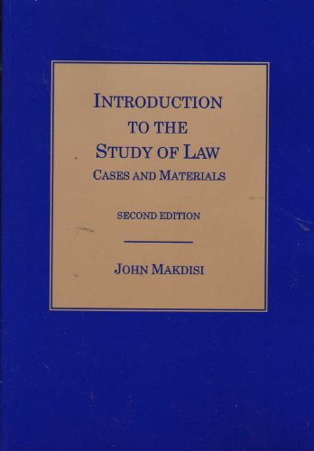 Introduction to the Study of Law : Cases and Materials 2nd 2000 (Revised) edition cover