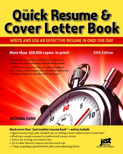 Quick Resume and Cover Letter Book Write and Use an Effective Resume in Only One Day 5th 2011 9781593578565 Front Cover