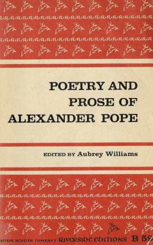 Poetry and Prose of Alexander Pope   1969 edition cover