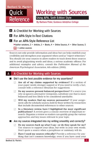 Working with Sources Using APA, Sixth Edition Style A Bedford/St. Martin's Quick Reference N/A edition cover
