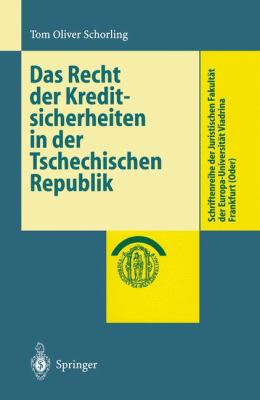 Recht der Kreditsicherheiten in der Tschechischen Republik   2000 edition cover