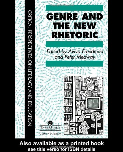 Genre and the New Rhetoric   1994 9780748402571 Front Cover