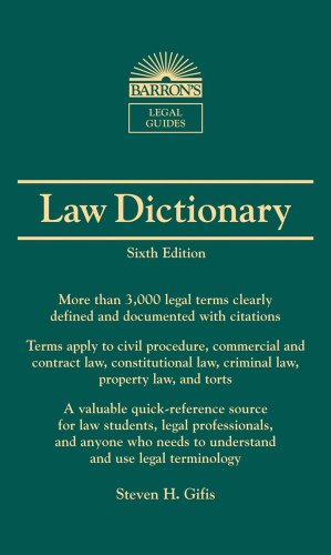 Barron's Law Dictionary Mass Market Edition 6th 2010 (Revised) edition cover