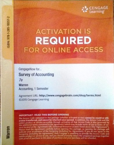 CengageNOW Printed Access Card for Warren's Survey of Accounting, 7th 1st 9781285183572 Front Cover