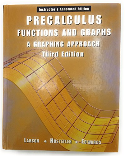 PRECALCULUS:FUNC.+GRAPHS >INST 3rd 2001 9780618066575 Front Cover