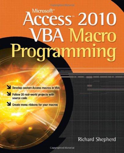 Microsoft Access 2010 VBA Macro Programming   2011 edition cover
