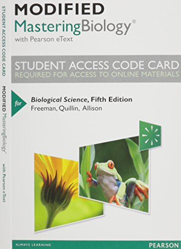 NEW MasteringBiology with Pearson EText -- Standalone Access Card -- for Biological Science  5th 2014 edition cover