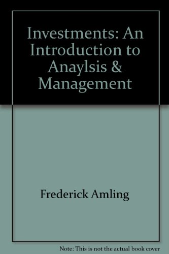 Investments : An Introduction to Analysis and Management 7th 2000 9780536603579 Front Cover
