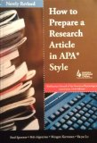 How to Prepare a Research Article in APA Style, Revised   2010 edition cover