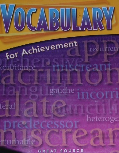 Vocabulary for Achievement Fourth Course   2005 9780669517583 Front Cover