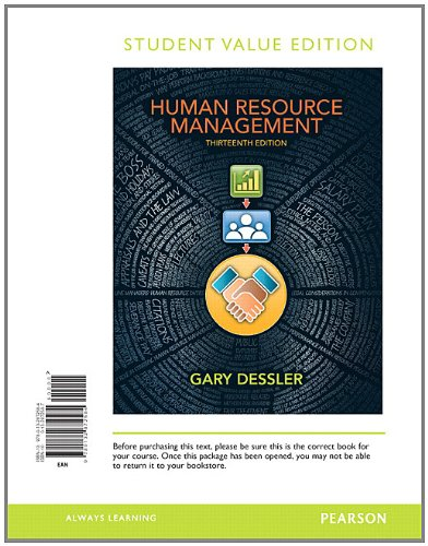 Human Resource Management, Student Value Edition  13th 2013 edition cover