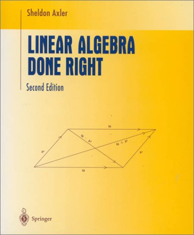 Linear Algebra Done Right  2nd 1997 (Revised) edition cover