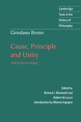 Giordano Bruno: Cause, Principle and Unity And Essays on Magic  1998 edition cover