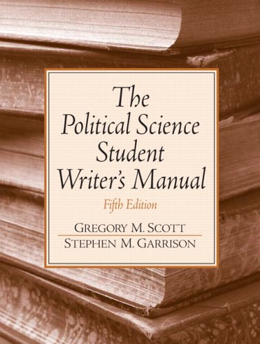 Political Science Student Writer's Manual  5th 2006 edition cover
