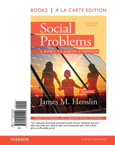 Social Problems A down to Earth Approach, Books a la Carte 11th 2014 edition cover