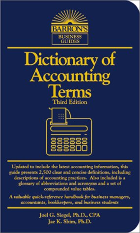 Dictionary of Accounting Terms  3rd 2000 9780764112591 Front Cover