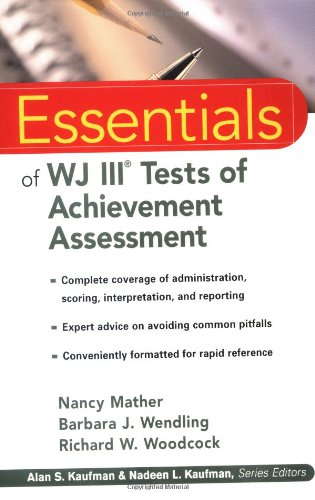 Essentials of WJ III Tests of Achievement Assessment   2001 edition cover