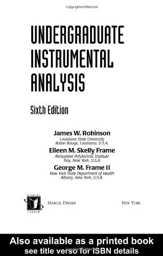 Undergraduate Instrumental Analysis  6th 2004 (Revised) edition cover