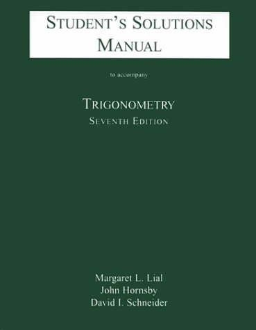 Trigonometry  7th 2001 (Student Manual, Study Guide, etc.) 9780321057600 Front Cover