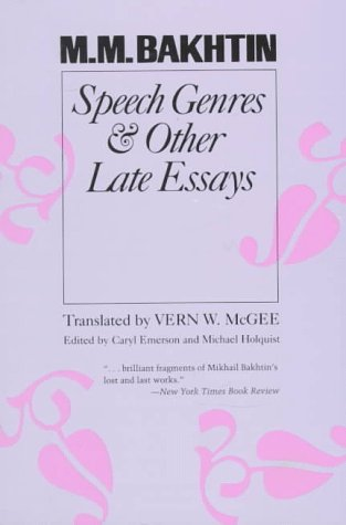 Speech Genres and Other Late Essays   1986 edition cover