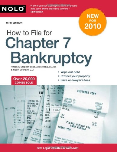 How to File for Chapter 7 Bankruptcy  16th 2009 (Revised) edition cover