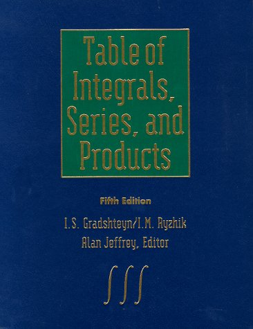Tables of Integrals, Series and Products 1st 1980 edition cover